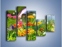 Obraz na płótnie – Bańkowy świat kwiatów – pięcioczęściowy K691W4