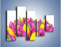 Obraz na płótnie – Bukiet fioletowo-żółtych tulipanów – pięcioczęściowy K778W4