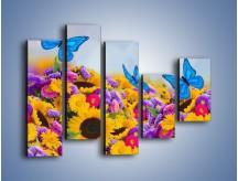 Obraz na płótnie – Bajka o kwiatach i motylach – pięcioczęściowy K794W4