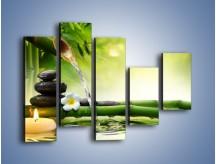 Obraz na płótnie – Bambus i źródło wody – pięcioczęściowy K930W4