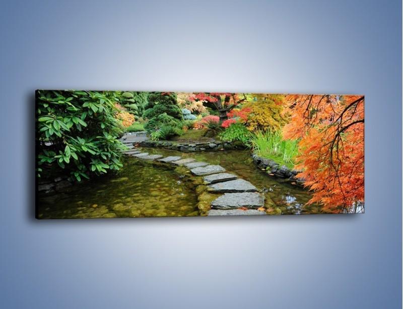 Obraz na płótnie – Skakać po kamieniach – jednoczęściowy panoramiczny KN1252A