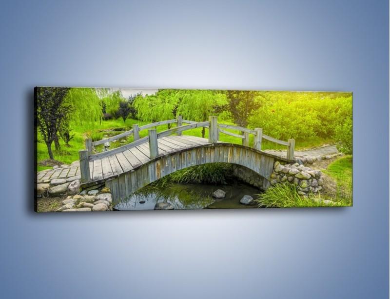Obraz na płótnie – Mały mostek przez rzeczkę – jednoczęściowy panoramiczny KN1254A