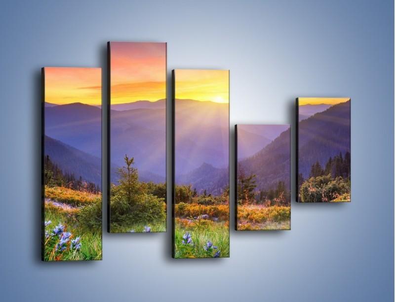 Obraz na płótnie – Góry o zachodzie słońca – pięcioczęściowy KN014W4