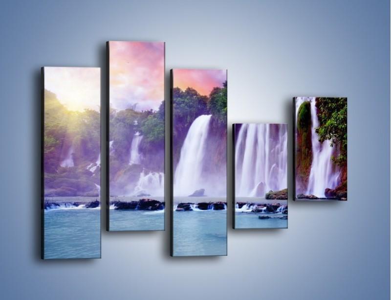 Obraz na płótnie – Wodospady jak z bajki – pięcioczęściowy KN026W4