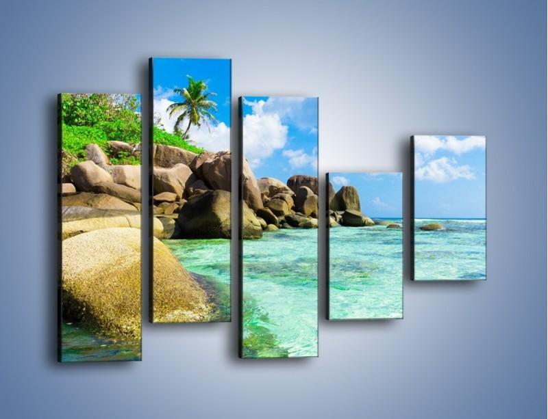 Obraz na płótnie – Lazurowa woda w tropikach – pięcioczęściowy KN035W4