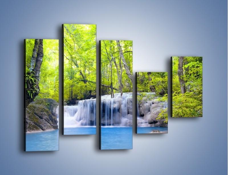 Obraz na płótnie – Mały leśny wodospad – pięcioczęściowy KN057W4