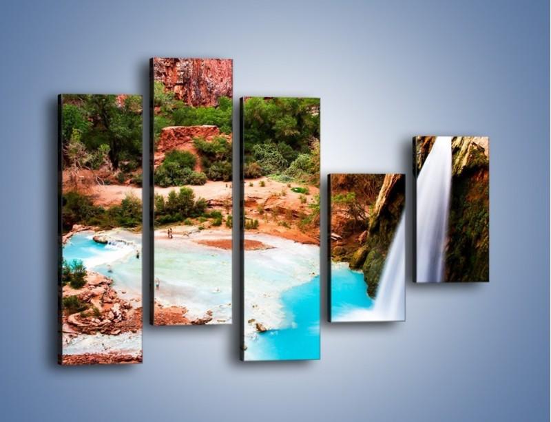 Obraz na płótnie – Zabawy przy wodospadzie – pięcioczęściowy KN095W4