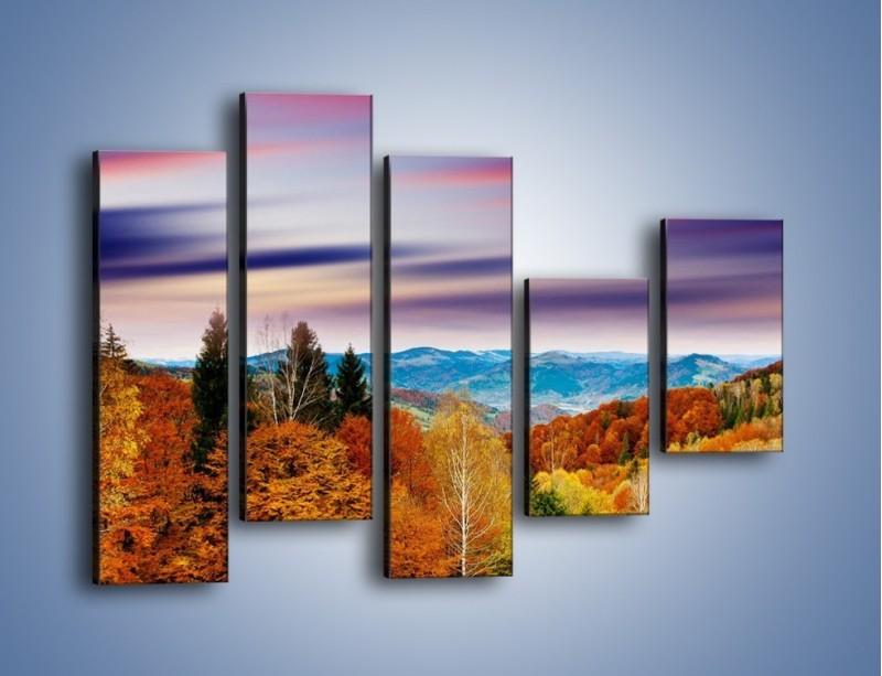 Obraz na płótnie – Drzewa w kolorach jesieni – pięcioczęściowy KN099W4
