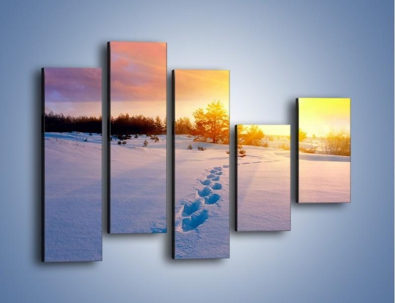 Obraz na płótnie – Ślady na śnieżnym puchu – pięcioczęściowy KN1015W4