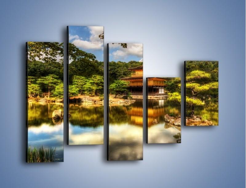 Obraz na płótnie – Widok z domu na wodę – pięcioczęściowy KN1030W4