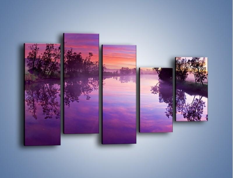 Obraz na płótnie – Fiolet w wodzie i na niebie – pięcioczęściowy KN1046W4