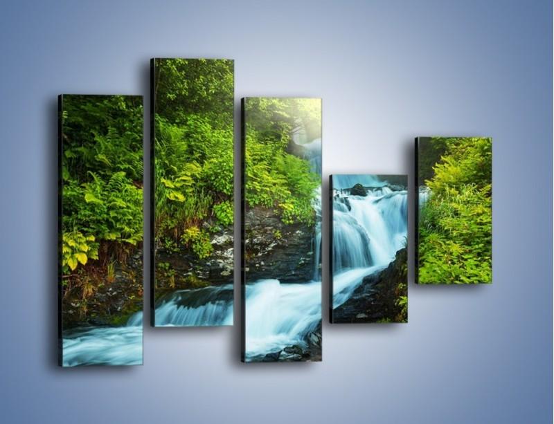 Obraz na płótnie – Spływ wodny i zieleń – pięcioczęściowy KN1069W4
