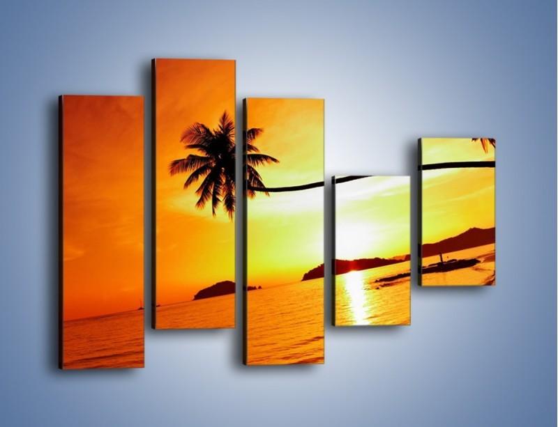 Obraz na płótnie – Palma o zachodzie słońca – pięcioczęściowy KN1077W4