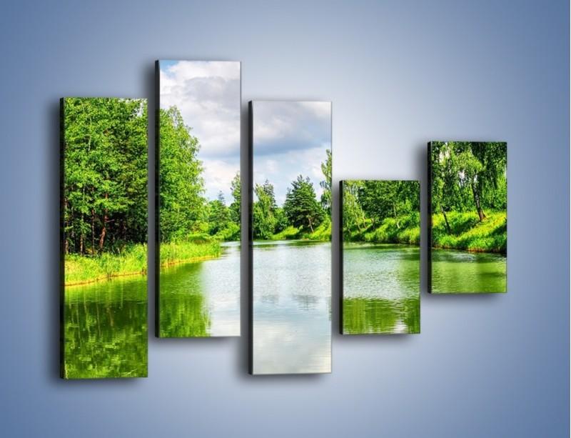 Obraz na płótnie – Spokojna woda i las – pięcioczęściowy KN1086W4