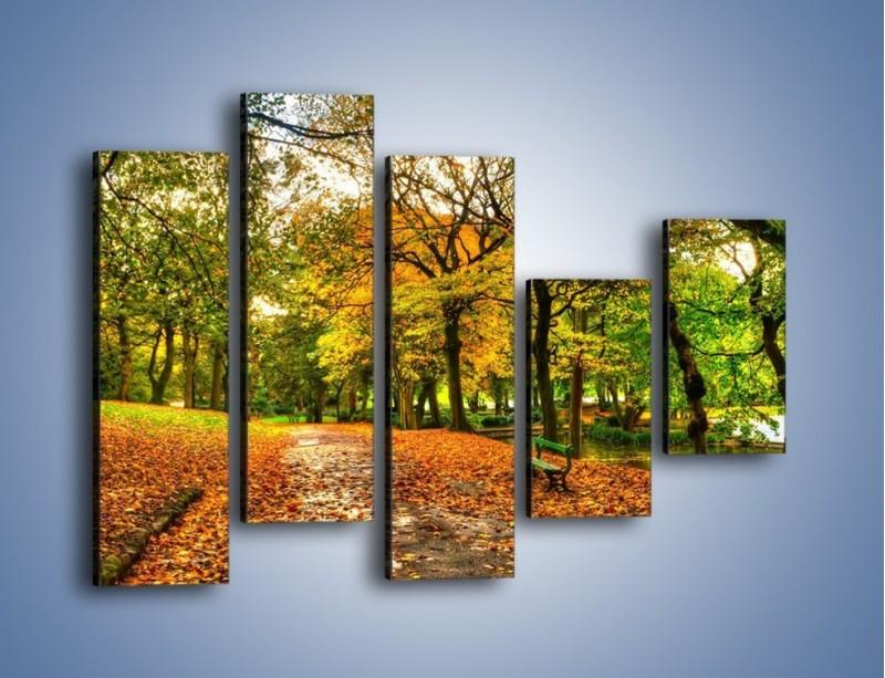 Obraz na płótnie – Piękna jesień w parku – pięcioczęściowy KN1098AW4