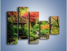 Obraz na płótnie – Alejka między kolorowymi drzewami – pięcioczęściowy KN1113W4