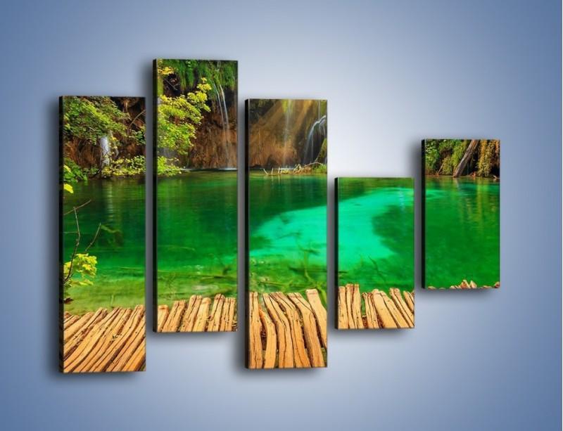 Obraz na płótnie – Zielone oczko wodne i drewno – pięcioczęściowy KN1149AW4