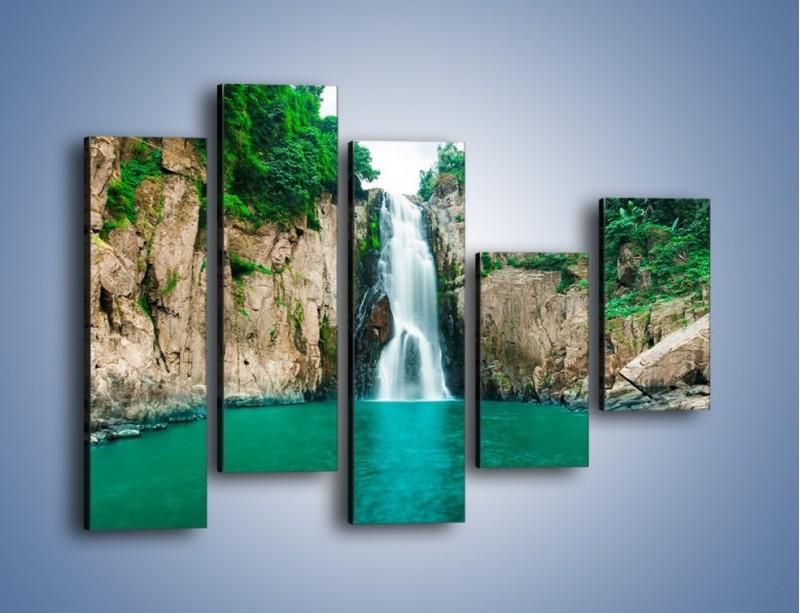 Obraz na płótnie – Skok ze skarpy do wody – pięcioczęściowy KN1184AW4