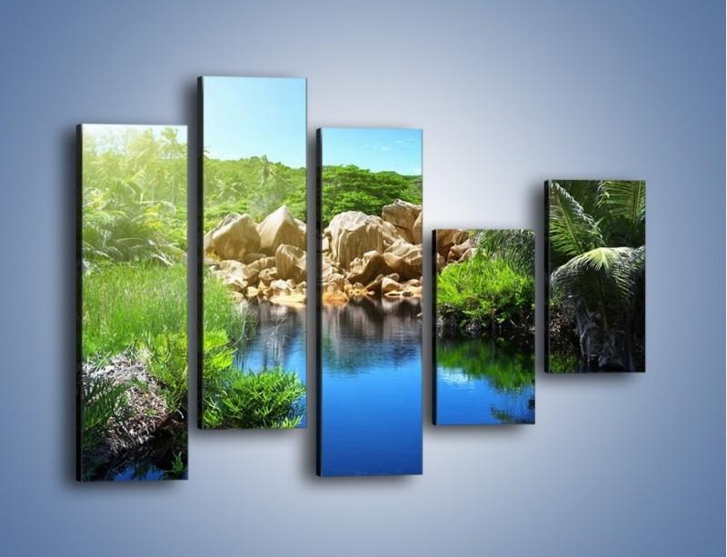 Obraz na płótnie – Wapienne skałki na wodzie – pięcioczęściowy KN1188AW4
