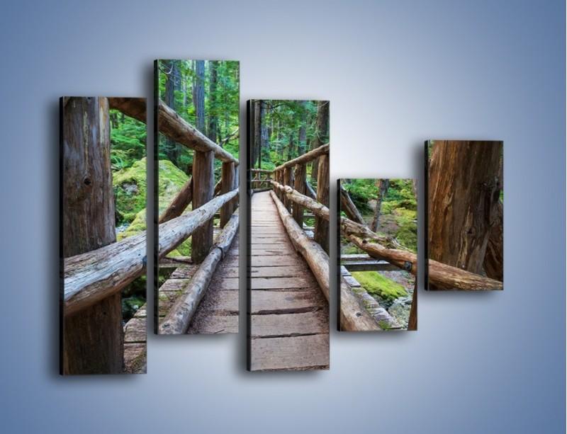 Obraz na płótnie – Mostek z drewnianych bali – pięcioczęściowy KN1207AW4