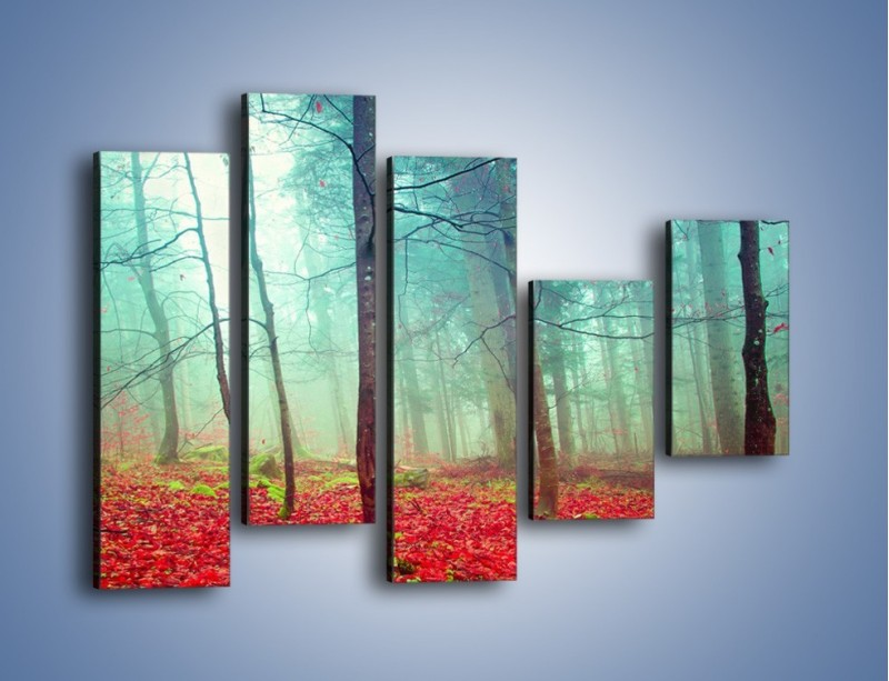 Obraz na płótnie – Drzewka na czerwonym dywanie – pięcioczęściowy KN1222AW4