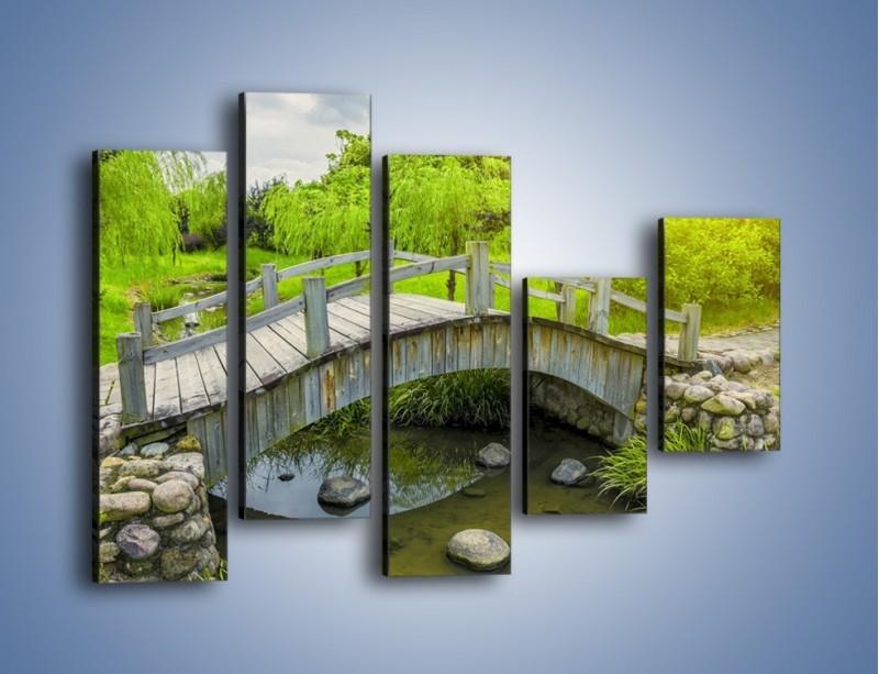 Obraz na płótnie – Mały mostek przez rzeczkę – pięcioczęściowy KN1254AW4
