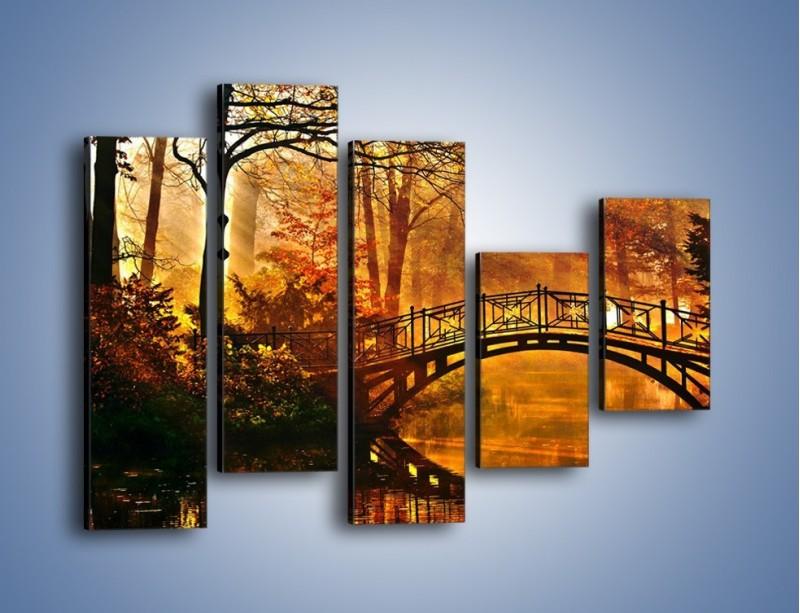 Obraz na płótnie – Cudowny spacer jesienną porą – pięcioczęściowy KN1319AW4