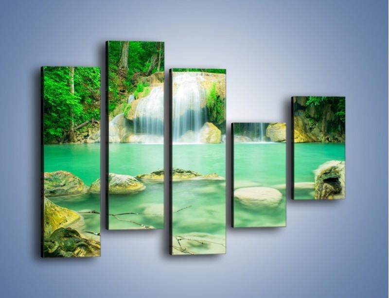 Obraz na płótnie – Jasne kamienie pod wodą – pięcioczęściowy KN1340AW4