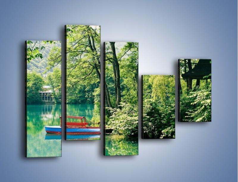 Obraz na płótnie – Wakacje nad jeziorem – pięcioczęściowy KN155W4