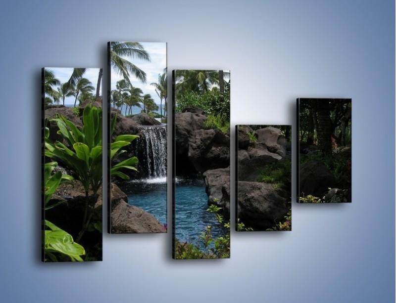 Obraz na płótnie – Wodospad wśród palm – pięcioczęściowy KN208W4