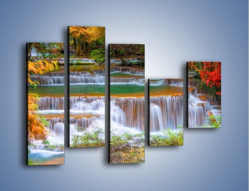 Obraz na płótnie – Schodki z wodospadów – pięcioczęściowy KN287W4