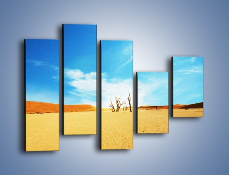 Obraz na płótnie – Błękit nieba i słońce w ziemi – pięcioczęściowy KN331W4