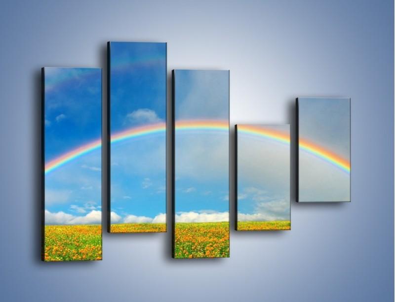 Obraz na płótnie – Urok kolorowej tęczy – pięcioczęściowy KN406W4