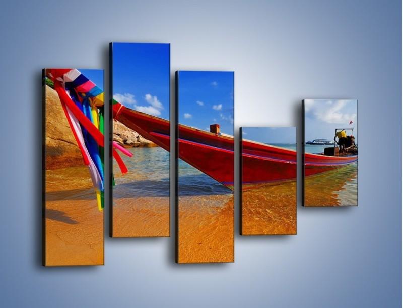 Obraz na płótnie – Kolorowa łódź na brzegu – pięcioczęściowy KN415W4
