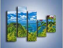 Obraz na płótnie – Bordowe kwiaty w górskim krajobrazie – pięcioczęściowy KN561W4