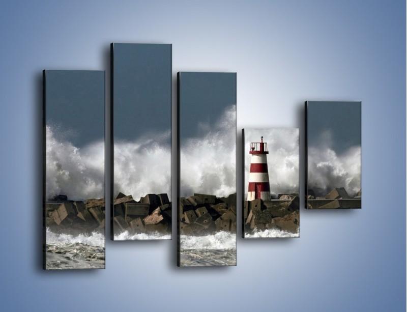 Obraz na płótnie – Latarnia morska w sztormie – pięcioczęściowy KN626W4