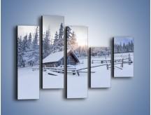 Obraz na płótnie – Chatka zatopiona w śniegu – pięcioczęściowy KN696W4