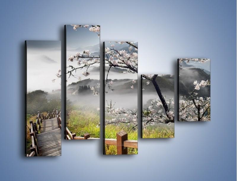 Obraz na płótnie – Drzewo wiśni i kręte schody – pięcioczęściowy KN698W4