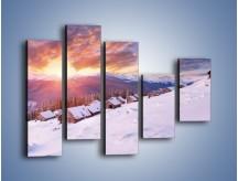 Obraz na płótnie – Chatka w śnieżnym dywanie – pięcioczęściowy KN725W4
