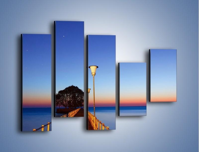 Obraz na płótnie – Wieczorny spacer po tafli morza – pięcioczęściowy KN759W4