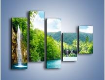 Obraz na płótnie – Cały urok górskich wodospadów – pięcioczęściowy KN769W4