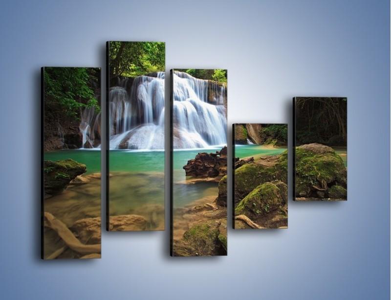 Obraz na płótnie – Drzewa schowane za wodospadem – pięcioczęściowy KN792W4