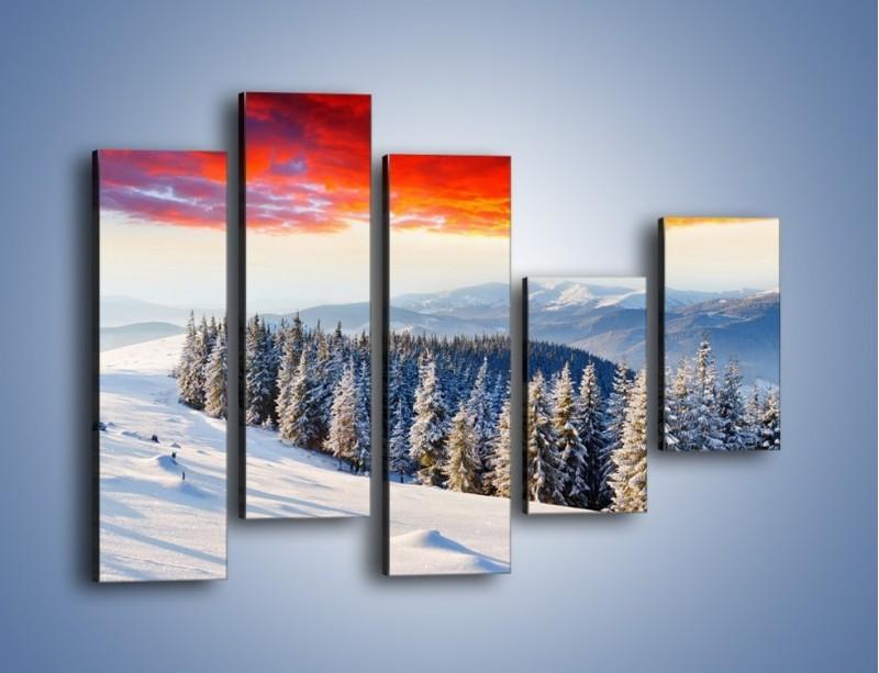 Obraz na płótnie – Cały urok gór zimą – pięcioczęściowy KN805W4
