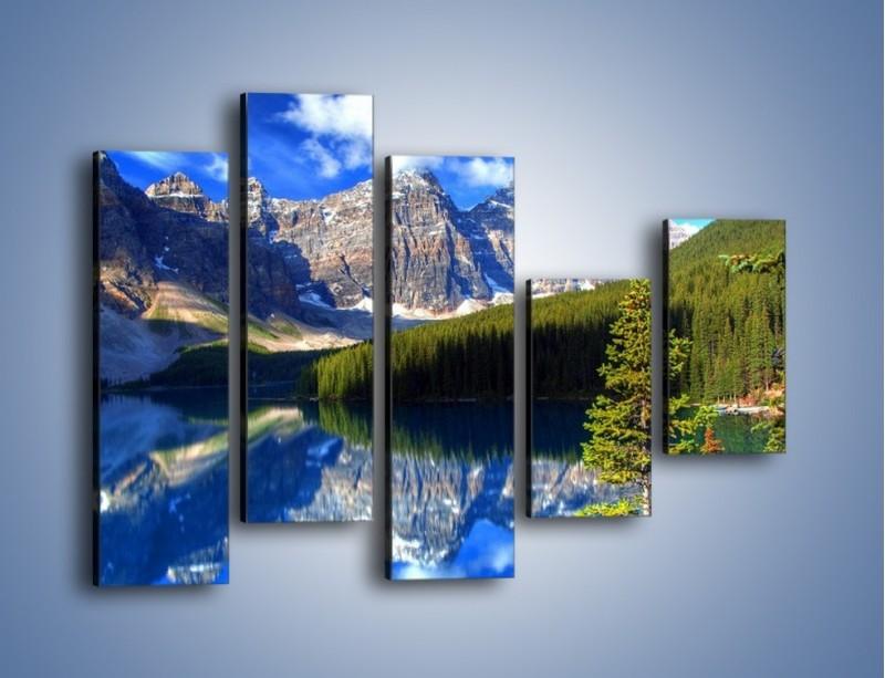 Obraz na płótnie – Góry i ich wodne odbicie – pięcioczęściowy KN839W4