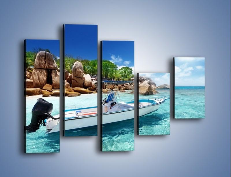 Obraz na płótnie – Błękit w wodzie i niebie – pięcioczęściowy KN852W4