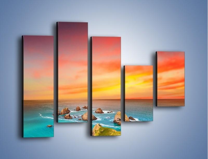Obraz na płótnie – Kolory rozpalonego nieba nad wodą – pięcioczęściowy KN879W4