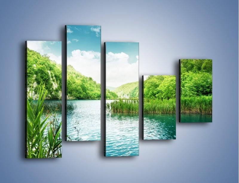 Obraz na płótnie – Wodnym śladem wśród zieleni – pięcioczęściowy KN884W4