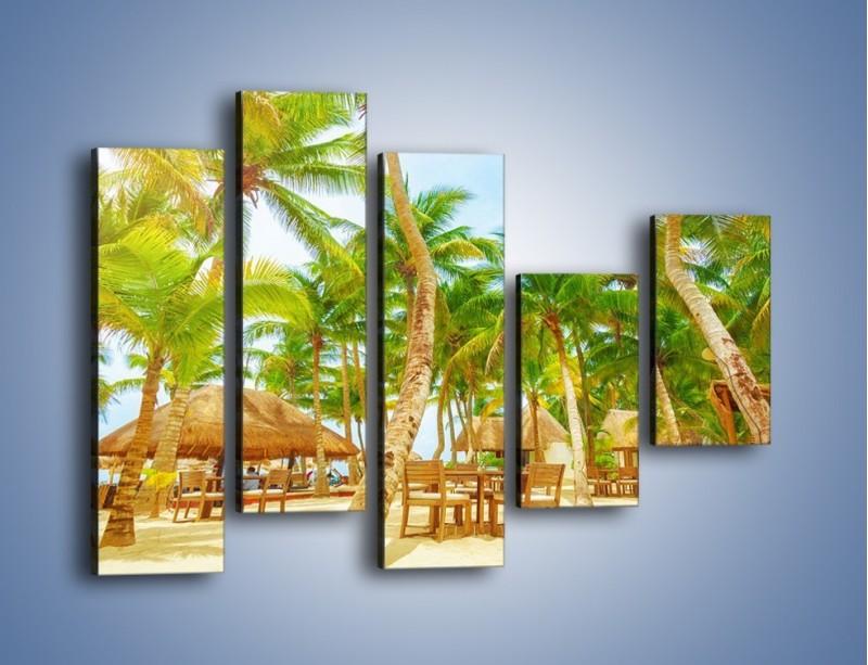 Obraz na płótnie – Słoneczna sjesta pod palmami – pięcioczęściowy KN886W4