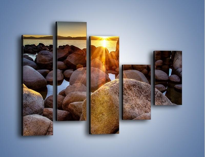Obraz na płótnie – Kamienna wyspa w słońcu – pięcioczęściowy KN888W4