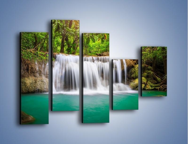 Obraz na płótnie – Kąpiel w środku lasu – pięcioczęściowy KN995W4